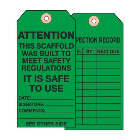 Scaffold Tags - ATTN - Scaffold Meets Regs. 2 7/8 x 5 3/4