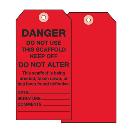Scaffold Tags - Danger Do Not Use This Scaffold Keep Off - Vinyl 3.125 x 5.625