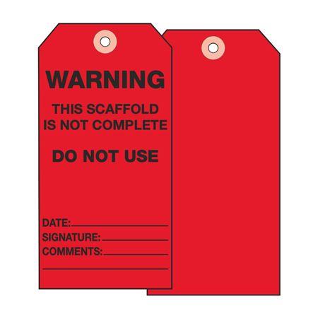 Scaffold Tags - Warning Do Not Use - Vinyl 3 1/8 x 5 5/8