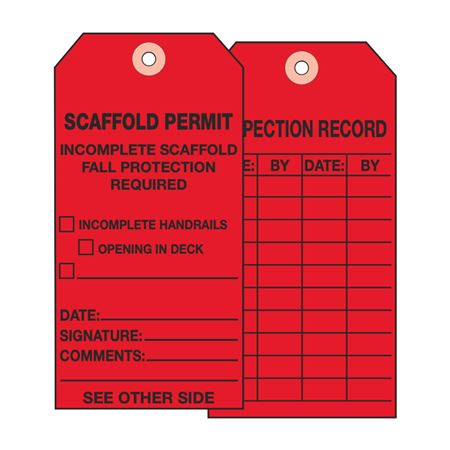 Scaffold Tags - Scaffold Permit Incomplete Scaffold - Cardstock 2.875 x 5.75