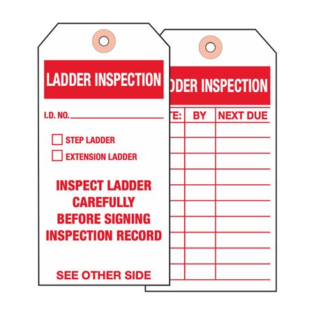 Ladder Tags - Ladder Inspection - Cardstock 2 7/8 x 5 3/4