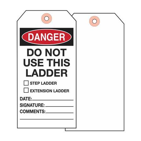 Ladder Tags - Danger Do Not Use This Ladder - Cardstock 2.875 x 5.75