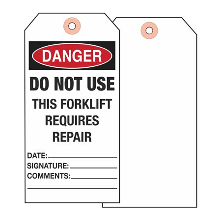 Forklift Tags - Danger Do Not Use This Forklift Requires Repair - Vinyl 3.125 x 5.625
