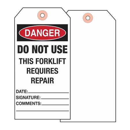 Danger Do Not Use This Forklift  - Cardstock 2 7/8 x 5 3/4