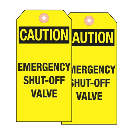 Valve Tags - Caution Emergency Shut-Off Valve - Vinyl 5-5/8 inches x 3-1/8 inches