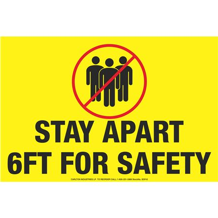 "Anti-Slip Floor Decal-Stay Apart 6ft-8""x12"""