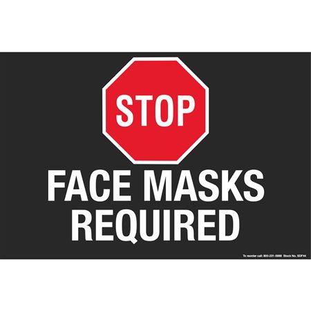 """Stop Face Masks Required - Floor Decals 8"""" x 12"""""""