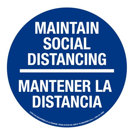 Anti-Slip Floor Decals-Social Distancing/Bilingual-11""