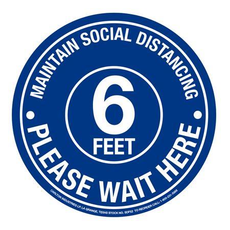 "Anti-Slip Floor Decals-Maintain Social Distance-11"" dia"