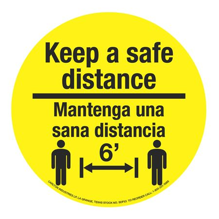 "Anti-Slip Floor Decals-Keep a Safe Distance/Bilingual-11""dia"