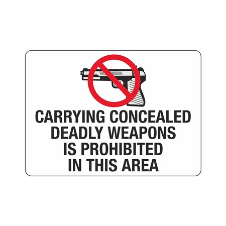 Carrying Concealed Deadl … bited In This Area Sign