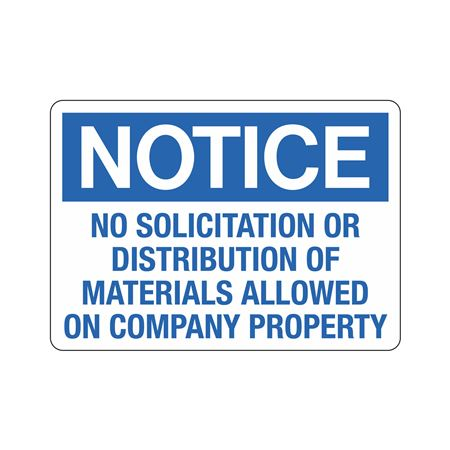 Notice No Solicitation O … n Company Property Sign