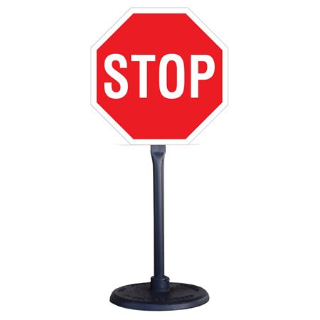 Portable Stanchion with Reflective Stop Sign