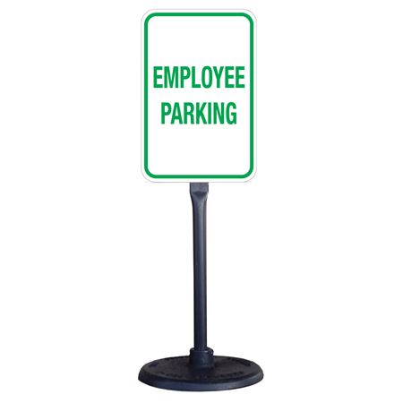 Portable Stanchion w/Reflective Employee Parking Sign 12x18