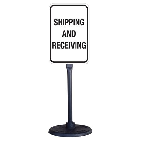 Portable Stanchion w/Reflect. Shipping& Receiving Sign 12x18