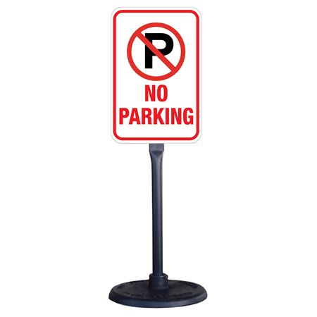 Portable Stanchion with Reflective No Parking Sign