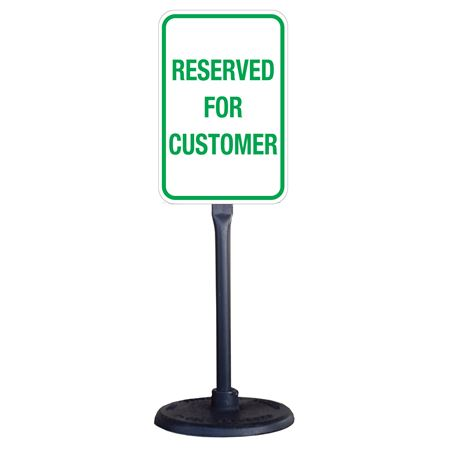 Portable Stanchion w/Reflect.Reserved forCustomer Sign 12x18