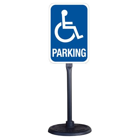 Portable Stanchion with Reflective Handicapped Parking Sign