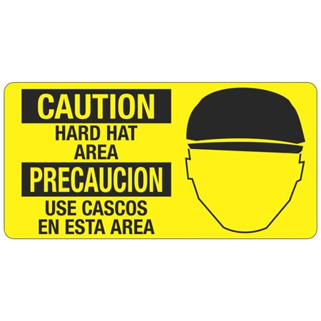 Caution Hard Hat Area - 4 in. x 8 in.