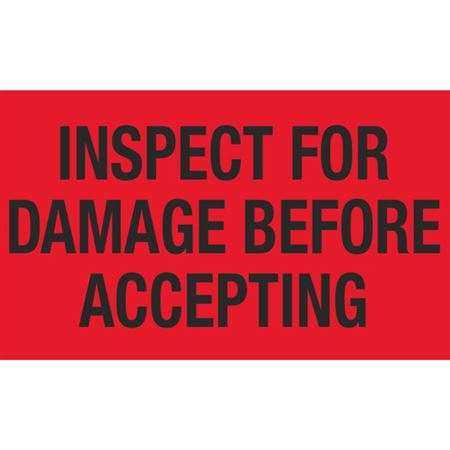 Inspect For Damage Before Accepting - 3 x 5