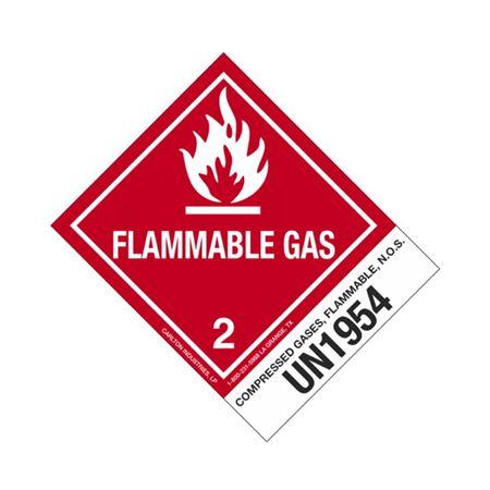 Hazmat Shipping Label - Class 2 Flammable Gas UN1954 - 4x5