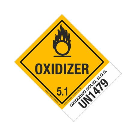 Hazmat Shipping Labels-Oxidizing Solid-NOS-UN1479-4x5