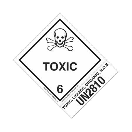 Hazmat Shipping Label-Toxic, Liq., Organic, NOS-UN2810-4x5