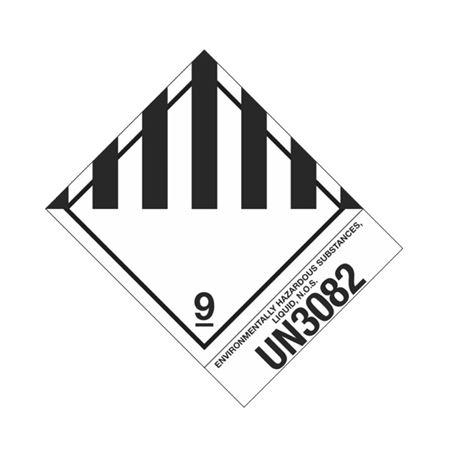 Hazmat Shipping Label - Class 9 -UN3082 - 4x5