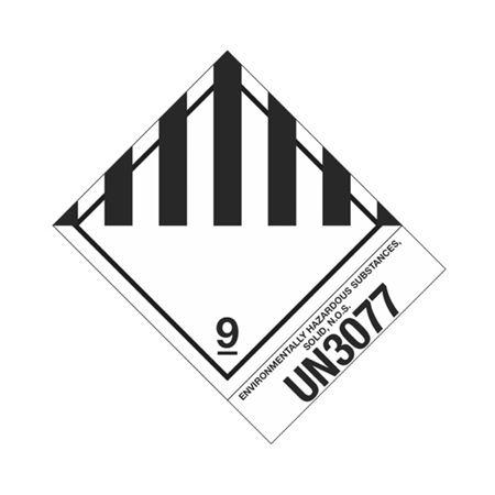 Hazmat Shipping Label-Class 9 Miscellaneous-UN3077-4x5