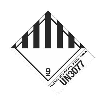 Shipping Label Class 9-Hazardous Waste Solid,N.O.S, UN3077