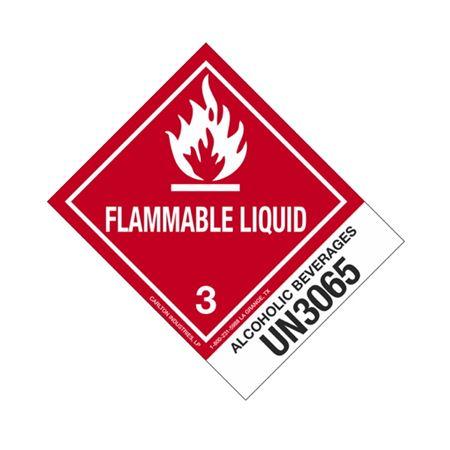 Hazmat Shipping Label- Alcoholic Bev-UN3065-Flam. Liq. 4x5