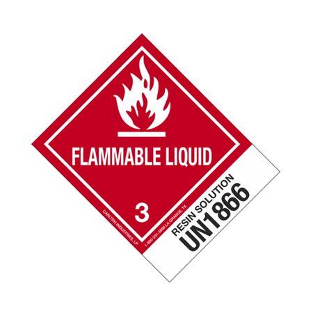 Hazmat Shipping Labels - Resin Solution UN1866 Flam. Liq. 4x5
