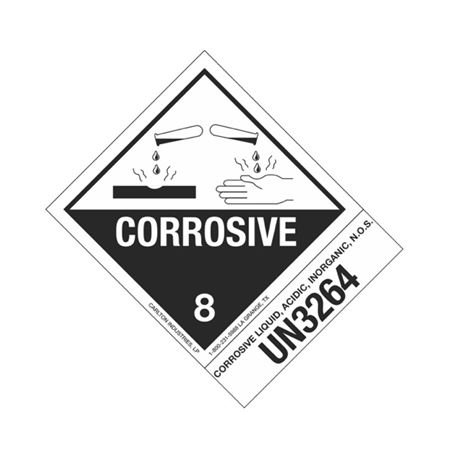 Hazmat Shipping Label - Class 8 Corrosive - UN3264 - 4x5