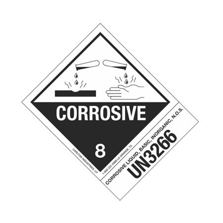 Hazmat Shipping Label - Class 8 Corrosive - UN3266 - 4x5