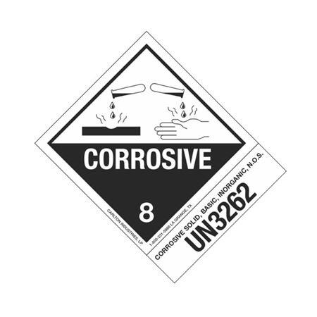 Hazmat Shipping Label - Class 8 Corrosive - UN3262 - 4x5