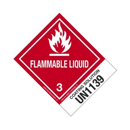 Hazmat Shipping Labels-Coating Soln-UN1139-Flamm.Liq.-4x5