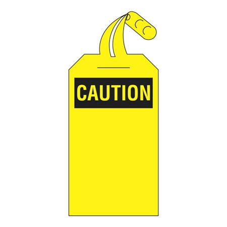 Self-Locking Tags - Blank (Caution Heading) - Yellow 4 x 12.5