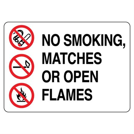 No Smoking, Matches or Open Flame  Graphic Sign
