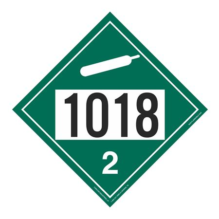 UN#1018 Non-Flammable Gas Stock Numbered Placard