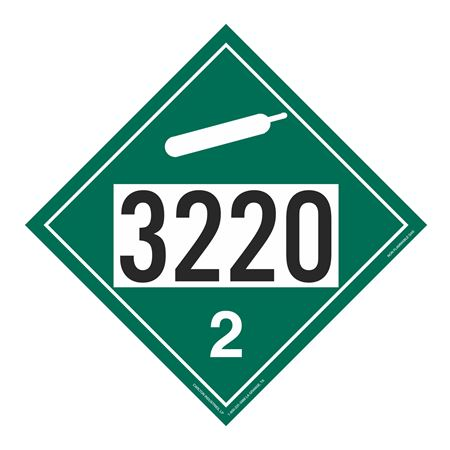 UN#3220 Non-Flammable Gas Stock Numbered Placard