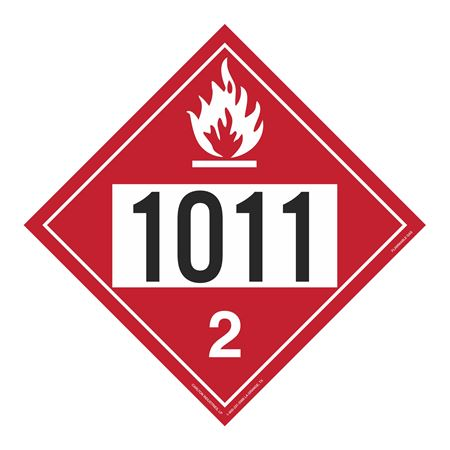 UN#1011 Flammable Gas Stock Numbered Placard