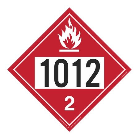 UN#1012 Flammable Gas Stock Numbered Placard