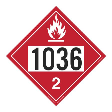 UN#1036 Flammable Gas Stock Numbered Placard