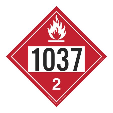 UN#1037 Flammable Gas Stock Numbered Placard