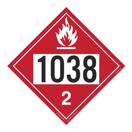 UN#1038 Flammable Gas Stock Numbered Placard