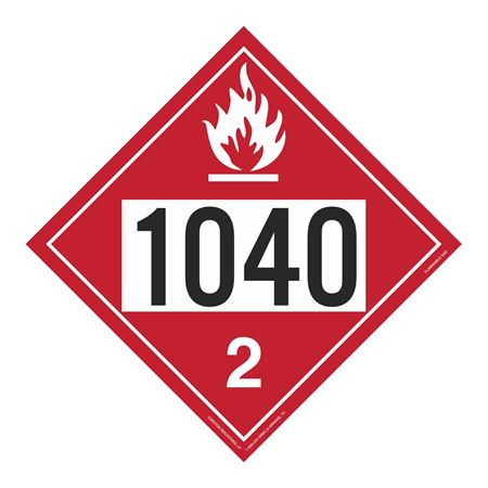 UN#1040 Flammable Gas Stock Numbered Placard