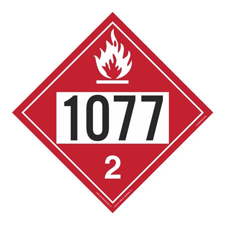 UN#1077 Flammable Gas Stock Numbered Placard