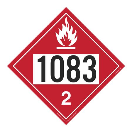 UN#1083 Flammable Gas Stock Numbered Placard