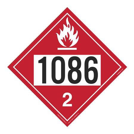 UN#1086 Flammable Gas Stock Numbered Placard