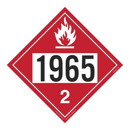 UN#1965 Flammable Gas Stock Numbered Placard